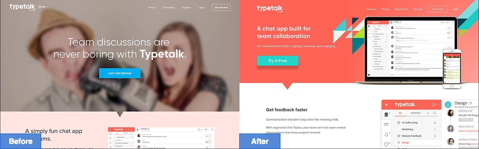Before/after typetalk website