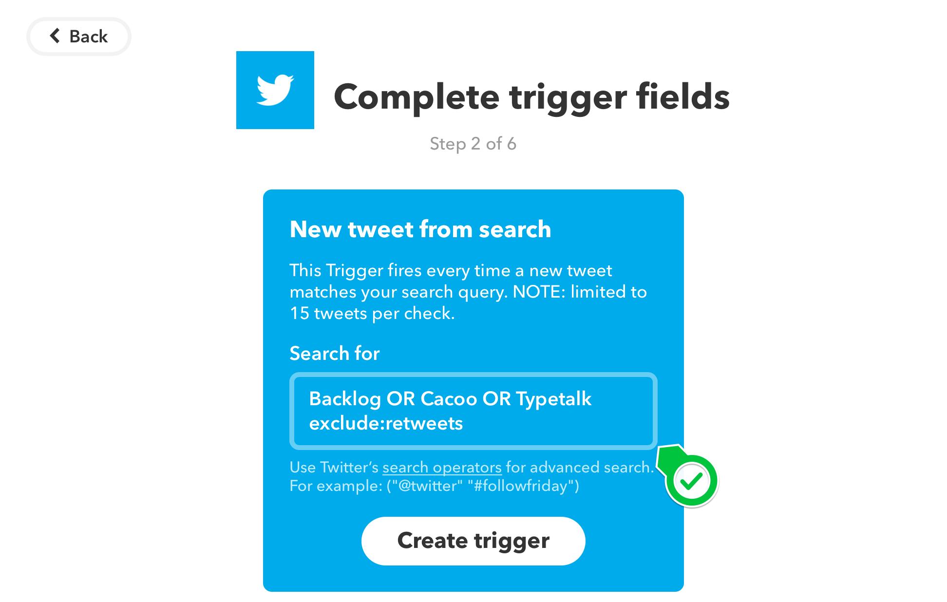 click Create trigger